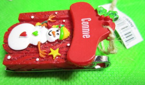 Ornament Personal Name 3D SnowMan Woman SLED Christmas SNOW @@! CONNIE CORY