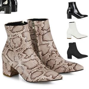 Mujer-Tacon-Bajo-Tobillo-Botas-Damas-Puntera-en-Punta-Cremallera-Botines-Zapatos-Talla-3-8