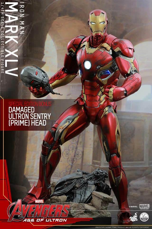 Hot Juguetes Iron Man 1 4 escala Mk 45 XLV Los Vengadores Edad de Ultron QS006 Nuevo Sellado