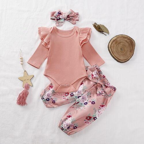 Neugeborene Mädchen Kleidung Strampler Jumpsuit Blumenhose Stirnband Outfit Set