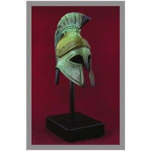 ANCIENT GREEK BRONZE MINIATURE HELMET ON STAND BRONZE OXIDIZATION 1310-1