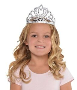 Girls-Silver-Princess-Queen-Royalty-Tiara-Crown-Fancy-Dress-Costume-Accessory