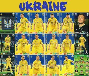 Panini-Adrenalyn-Xl-Uefa-Euro-2020-juego-de-equipo-de-tarjeta-de-Ucrania-Completo-18-Euros