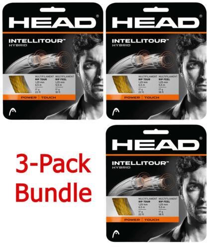3 Packs of HEAD INTELLITOUR 17 (1.25) - tennis racquet racket hybrid string set