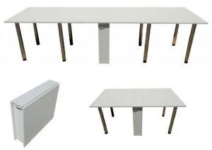 Tisch Klappbar Weiß.Details Zu Klapptisch Xxl Esstisch Ausklappbar Bis 300cm Tisch Klappbar Weiß Funktionstisch