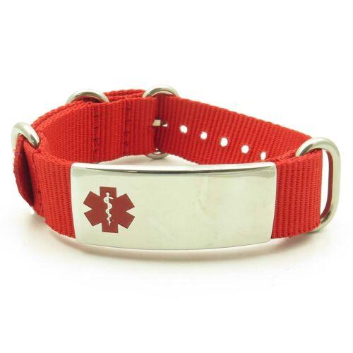 Idtagged Réglable Nylon Medical Alert ID Bracelet en acier inoxydable poli Tag