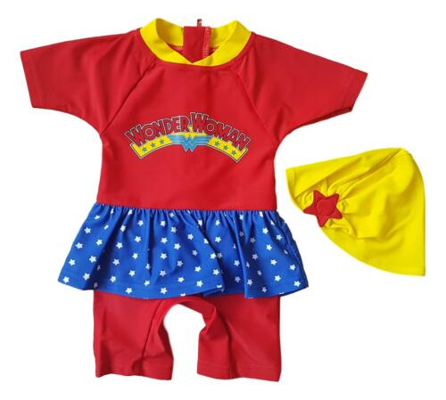 Girls Baby Kids Swimsuit 1 Piece Sun Safe Swimming Costume Hat UV Wonder Woman