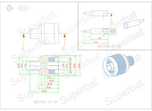 50x N type male plug Crimp connector LMR400 KSR400 RG8 RG214 cable RF Connector