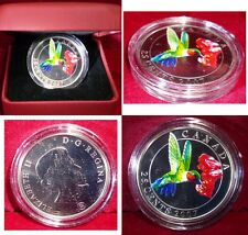 CANADA 2007 RUBY THROATED HUMMINGBIRD  COLOURED  25 cents WITH BOX & COA