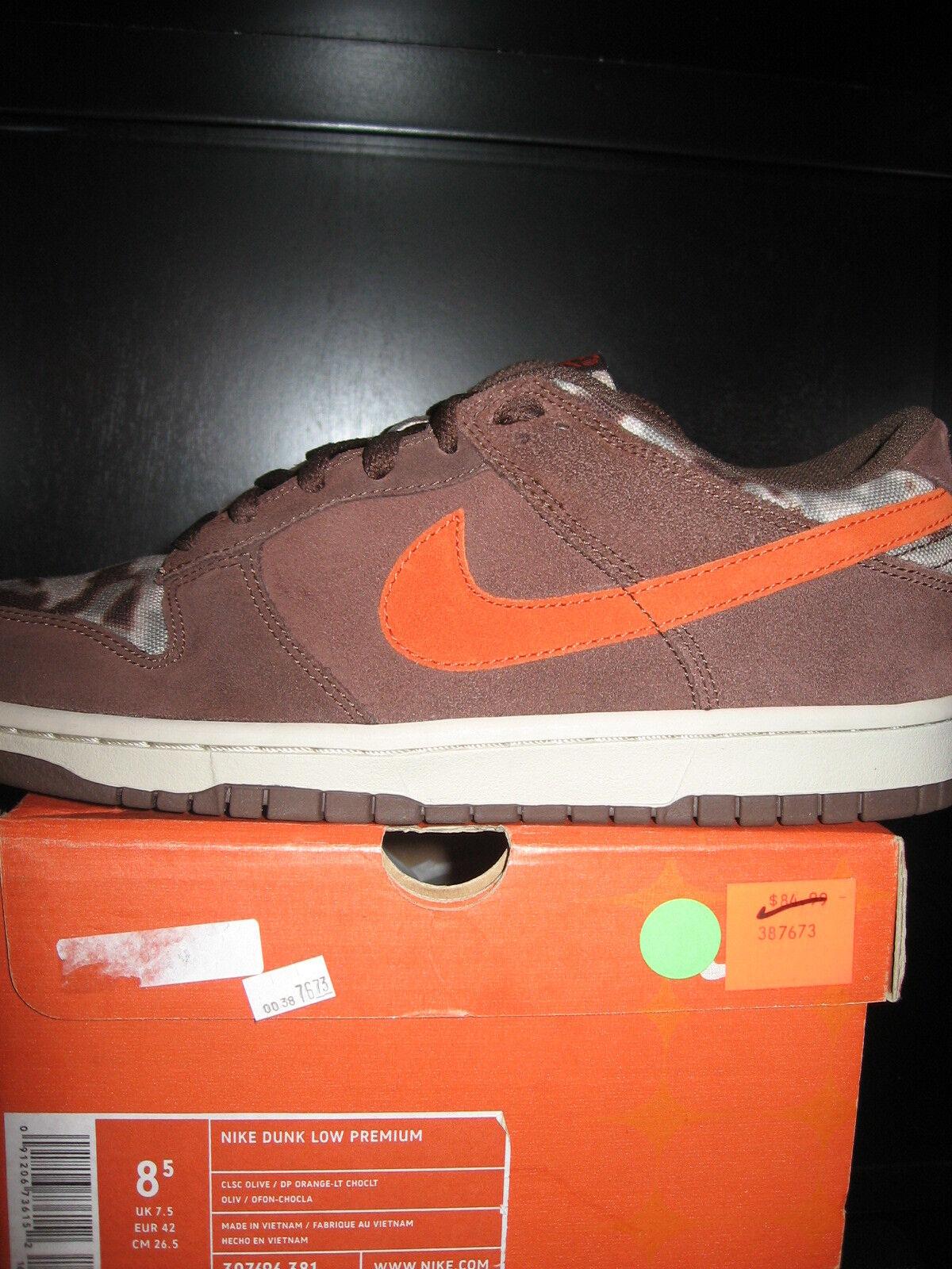 Nike Dunk Low Premium Premium Premium Cl Olive dp orange-LT Choc 307696 381 MENS SZ 8.5 DS 2005 096f3e