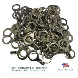 "High Temperature 100 Pcs Terminal Connectors 12-10 AWG Gauge 1/4"" Ring - USA"