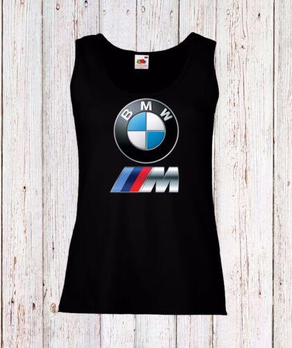 BMW WOMEN LADY VEST TOP TANK T-SHIRT FUN LOGO BLACK//WHITE CAR AUTO POWER