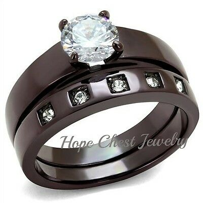 DARK BROWN STAINLESS STEEL 1 CT ROUND CUT CZ ENGAGEMENT WEDDING SET SIZE 5, 6