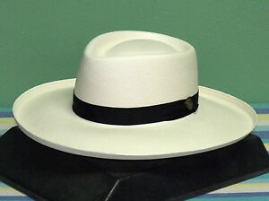 0f5cddd76 Details about DOBBS SAN JUAN SHANTUNG STRAW PLANTERS GAMBLER HAT