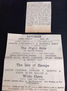 62-7-Ephemera-1931-Margate-Advert-The-Lounge-Cinema-Myrna-Loy-The-Isle-Of-Escape