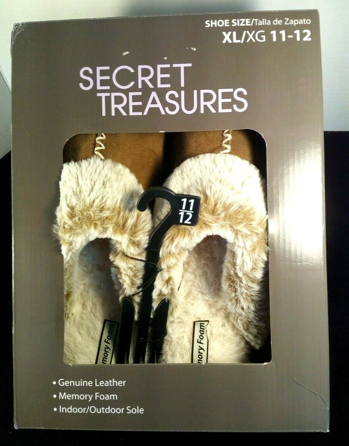 Secret Treasures Wmn Brown Suede Faux Fur Memory Foam Clog Slippers Sz 11-12 NIB