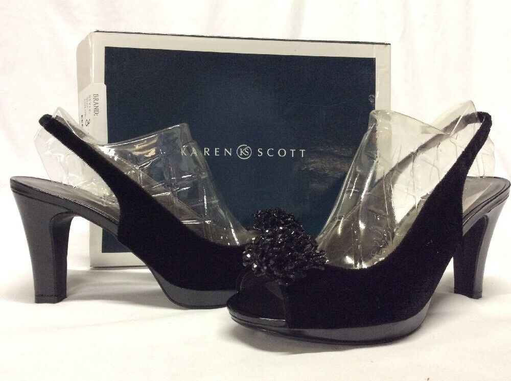 Karen Scott BRENABLACK Women's Heels Open Toe, Black,Bridal  Size 8.5 M