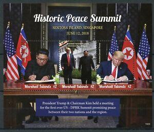 Îles Marshall 2018 Neuf Sans Charnière Peace Summit Donald Trump Kim Jong-un 3 V M/s Timbres-afficher Le Titre D'origine Circulation Sanguine Tonifiante Et Douleurs D'ArrêT