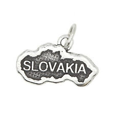 STERLING SILVER TEXTURED TRAVEL COUNTRY MAP OF SLOVAKIA CHARM OR PENDANT