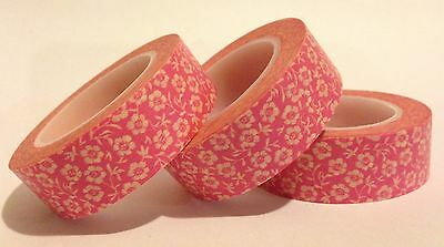 WASHI TAPE BLOSSOM ON PINK 15MM WIDE X 10 MTR ROLL SCRAPBOOKING CRAFT WRAP