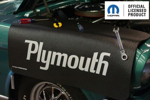 Black Fender Gripper Protective Cover Cushion w// Script Emblem Logo For Plymouth