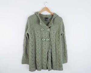Women-039-s-BCBG-Maxazria-Green-Thick-Sweater-Jacket-Size-Small
