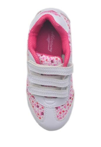 Young Girls Summer Floral Trainers White Pink UK 6  to UK 12 EU 30