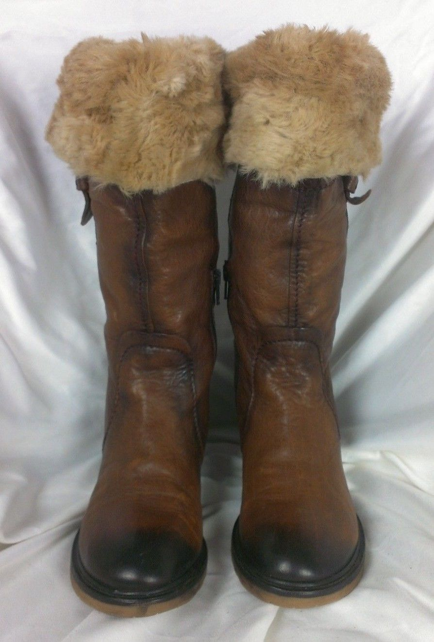 Pakros Distressed Leather Sherpa Trim Mukluk Boots Brown Brown Brown Sz EU 37 (US 7M) f7843a