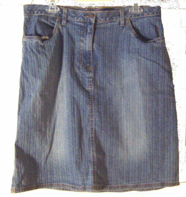 812fe550f1c40 Faded Glory Blue Jean Denim Pinstripe Skirt Kneelength Stretch Denim Skirt  Sz 14