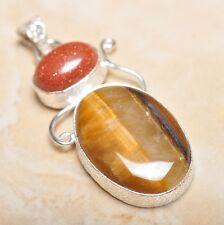 "Handmade Golden Tiger's Eye Gemstone 925 Sterling Silver Pendant 2.25"" #P14607"