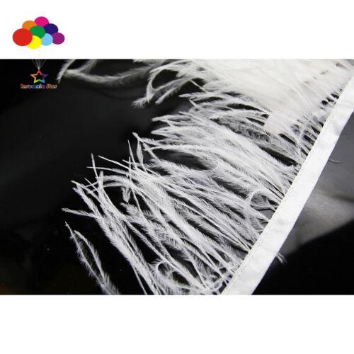 Good 1//5//10 meter white Ostrich Feathers Fringe Ribbon Trim DIY carnival decor