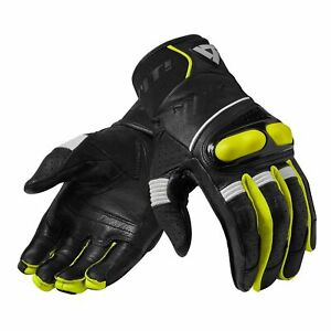 Rev It Hyperion Mens Leather Motorcycle Gloves Black Neon Yellow Ebay
