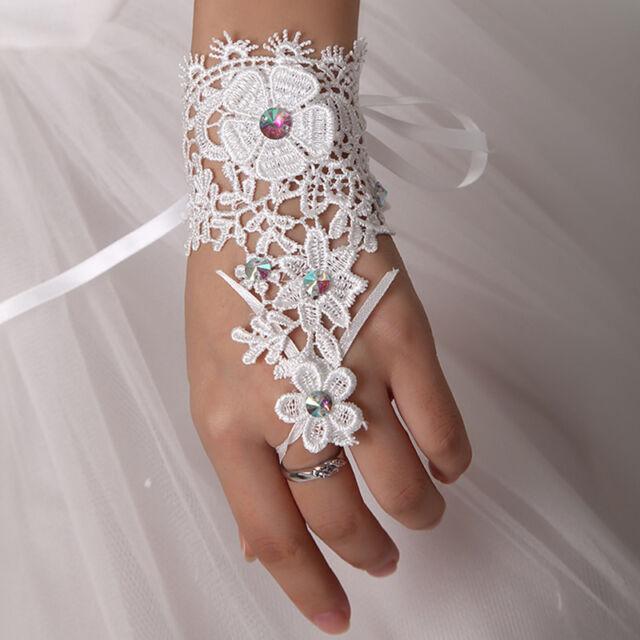Fingerless Bridal Gloves Rhinestone White Lace Glove Wedding Party Accessories