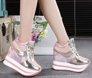 Casual Womens Fashion Sneakers High Wedge Platform Heels Lace-up Sports Shoes