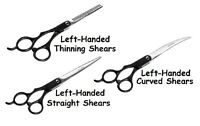 Left Handed Dog Grooming Shears Straight, Curved Or Thinning Full Set Available