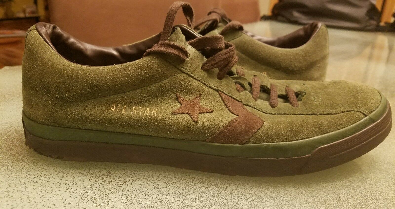VINTAGE CONVERSE ALL STAR Uomo 9 SUEDE LOW GREEN BROWN SHOES