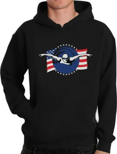 Support USA Swimming Team American Flag Hoodie Swimmer