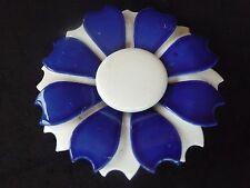 VINTAGE BIG ROYAL BLUE & WHITE  ENAMEL FLOWER BROOCH / CORSAGE 1960'S