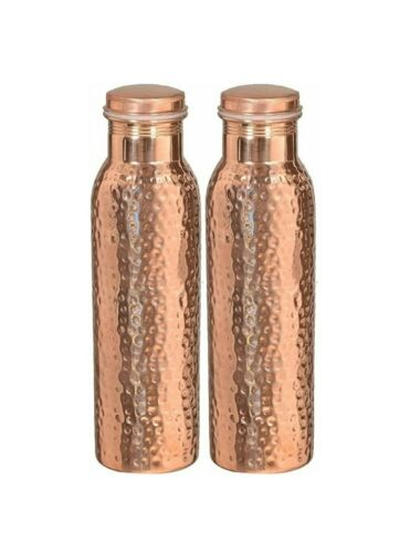 2 Pc750 ML Copper Water Pot Bottle for Ayurveda Health Benefit Copper Vessel1