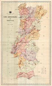 MidCentury-Map-of-Portugal-Carta-administrativa-Wall-Art-Poster-Print-Artwork
