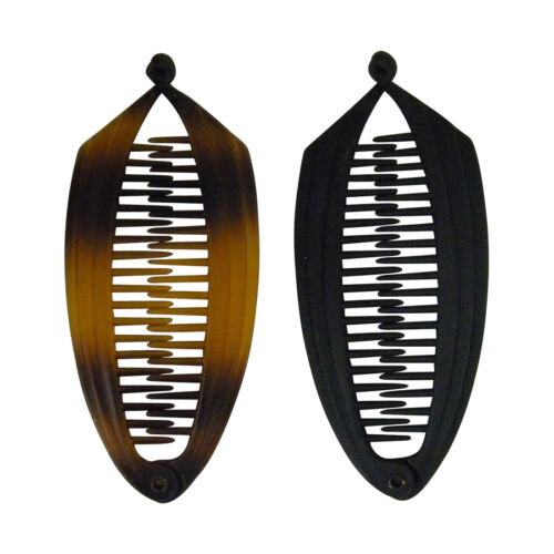 2 Banana Hair Combs with Flat Edge 5.5 Inch Matte Black /& Tortoise Accessories