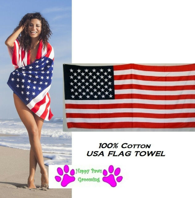 Beautiful  Beach and Bath American Flag Towel
