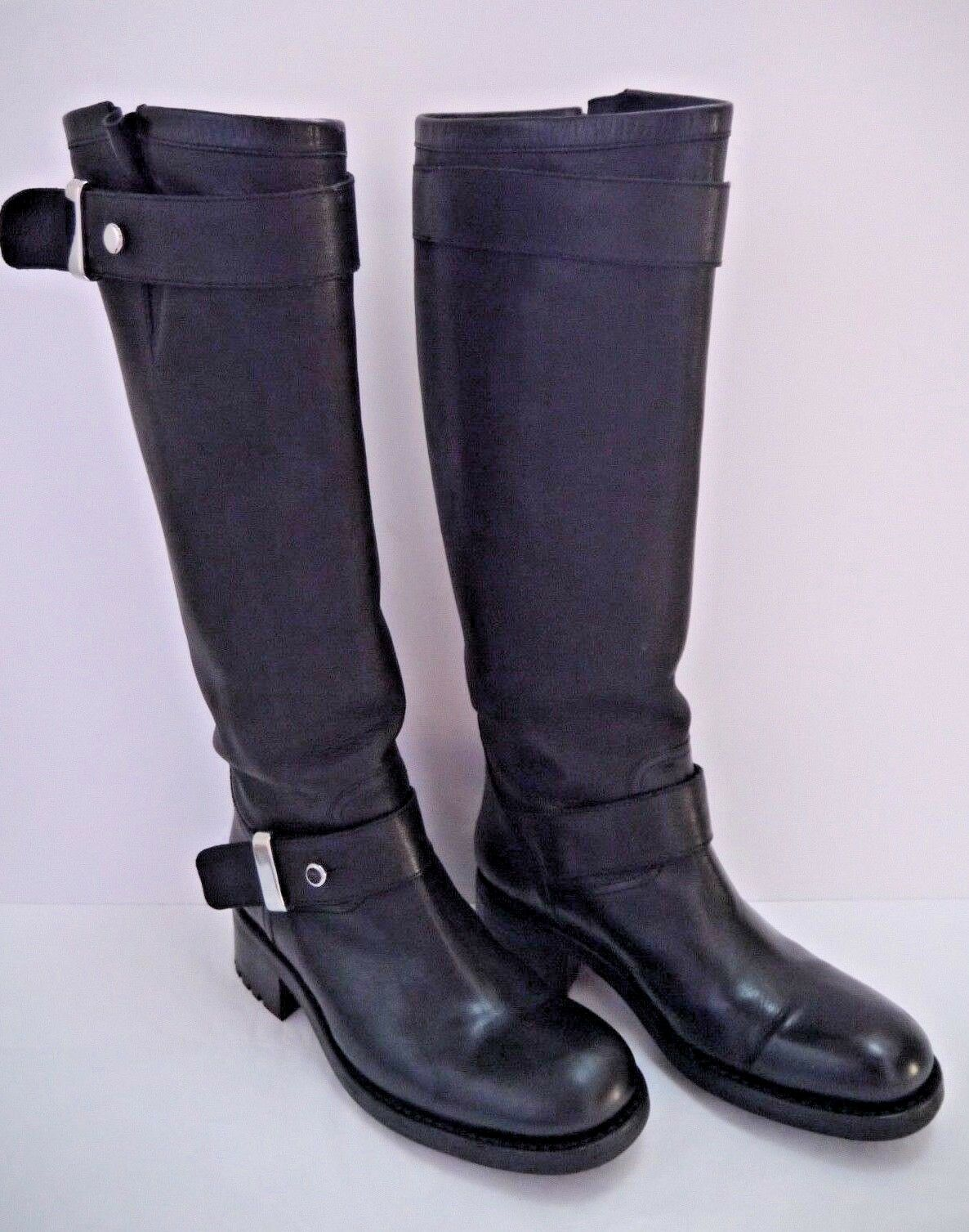 FREE LANCE black leather knee high moto biker boots size 38
