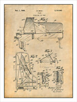 1938 Beck Steinway Grand Piano Patent Print Art Drawing Poster 18 X 24