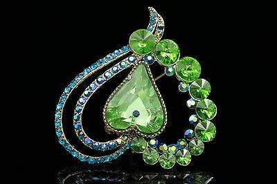 sparkly heart wedding amethyst purple crystal rhinestone brooch pin pendant H06