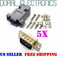 5X DB9 9-Pin Male Solder Cup Connector & Plastic Hood Shell & Hardware DB-9