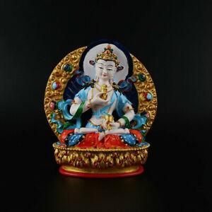 11-5CM-Tibet-Resin-Hand-Drawing-Vajrasattva-Goddess-Kwan-yin-Guan-Yin-Statue