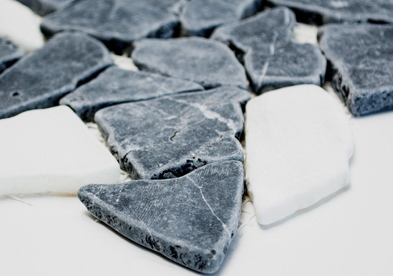 Marmor Bruchmosaik mix mix mix Nero/Botticino Fliesenspiegel Küche Art:44-0204 |10Matten 11294f
