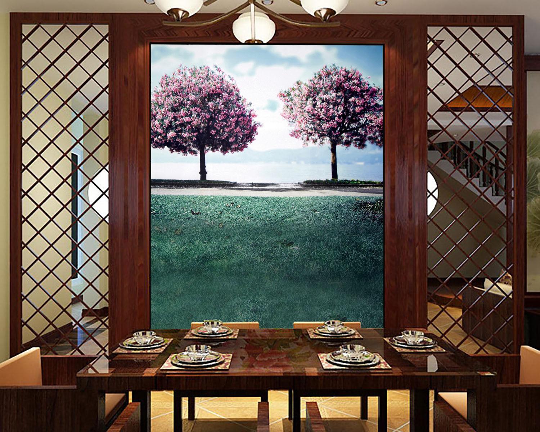 3D Lakeside Blooming Trees 29 Wall Paper Wall Print Decal Wall AJ Wall Paper