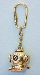 Solid Brass Mini Maritime Diver's Helmet Key Chain Ring Nautical Vintage Pirate